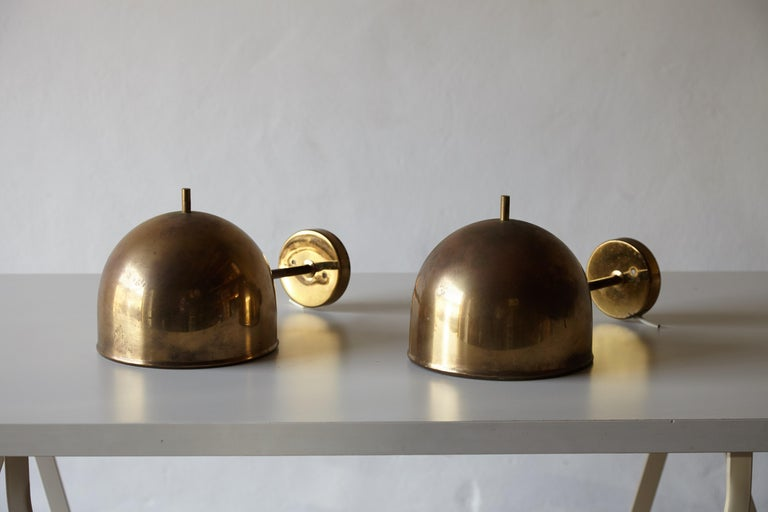 Mid-Century Modern Patinated Pair of Brass Wall Lamps, Model G-075, Bergboms, Sweden, 1960s For Sale