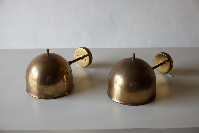 Swedish Patinated Pair of Brass Wall Lamps, Model G-075, Bergboms, Sweden, 1960s For Sale