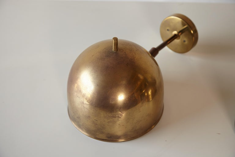 20th Century Patinated Pair of Brass Wall Lamps, Model G-075, Bergboms, Sweden, 1960s For Sale