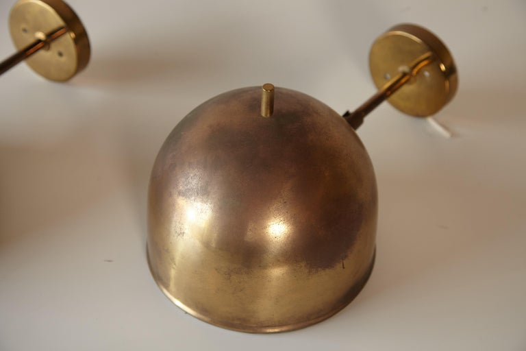 Patinated Pair of Brass Wall Lamps, Model G-075, Bergboms, Sweden, 1960s For Sale 1