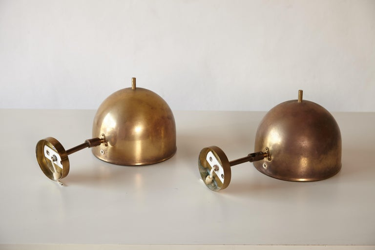 Patinated Pair of Brass Wall Lamps, Model G-075, Bergboms, Sweden, 1960s For Sale 2