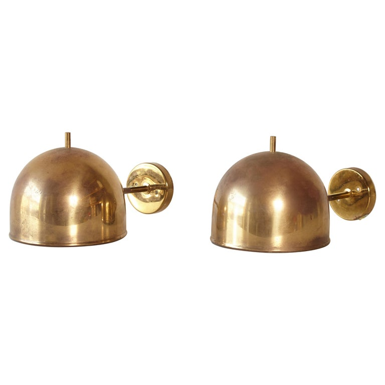 Patinated Pair of Brass Wall Lamps, Model G-075, Bergboms, Sweden, 1960s For Sale