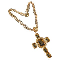 A Patrizia Daliana Bronze chain and Murano glass cross pendant