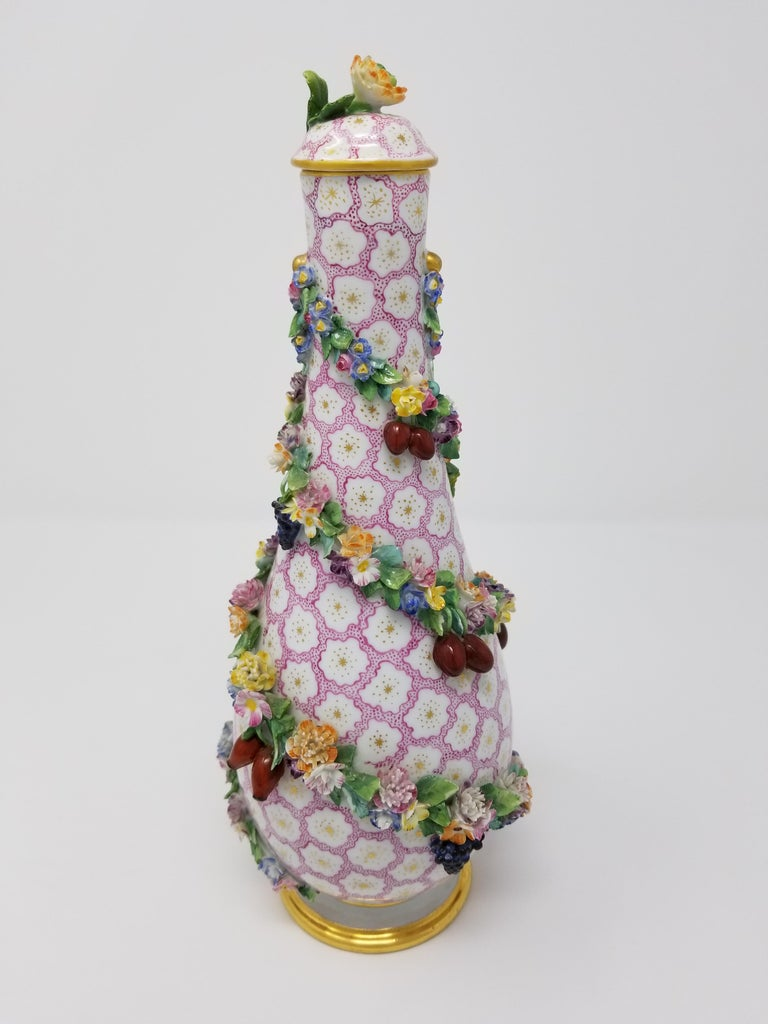 Rococo Pear Shaped Meissen Vase with Cover and Vines with Flowers and Fruits For Sale