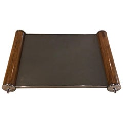 Period Art Deco Rosewood and Chrome Mirror Top Serving Tray Belgium.