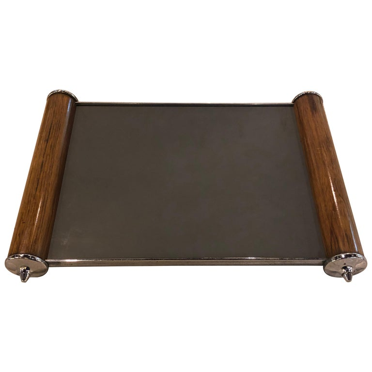 Period Art Deco Rosewood and Chrome Mirror Top Serving Tray Belgium.  For Sale
