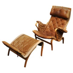 """Pernilla"" Bentwood Natural Leather Chair and Ottoman by Bruno Mathsson"