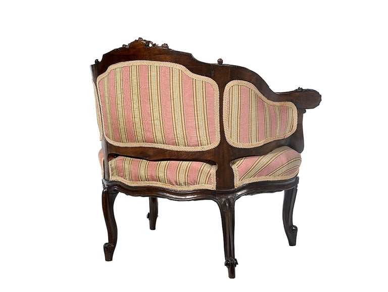 Petite Carved Walnut Framed Armchair in the Louis XV Style For Sale 5