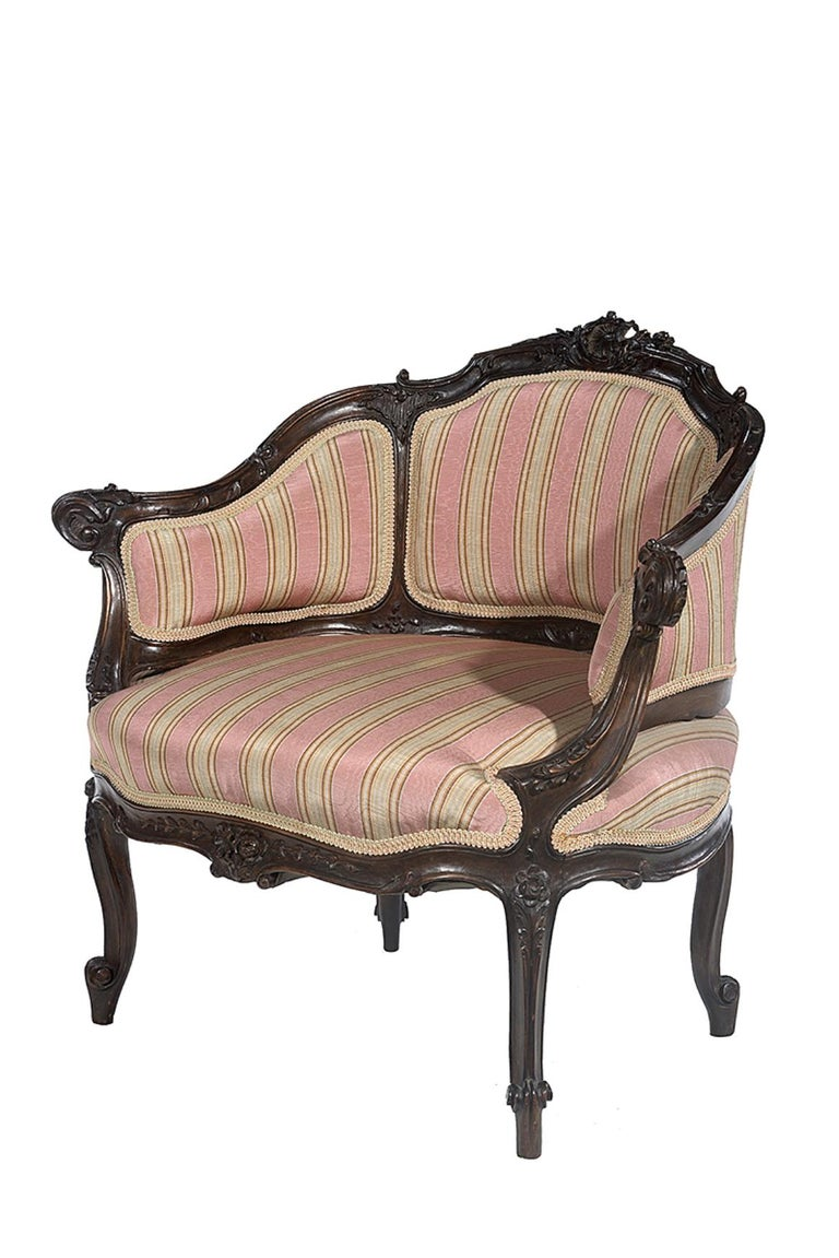 Petite Carved Walnut Framed Armchair in the Louis XV Style In Good Condition For Sale In Hemel Hempstead, Hertfordshire