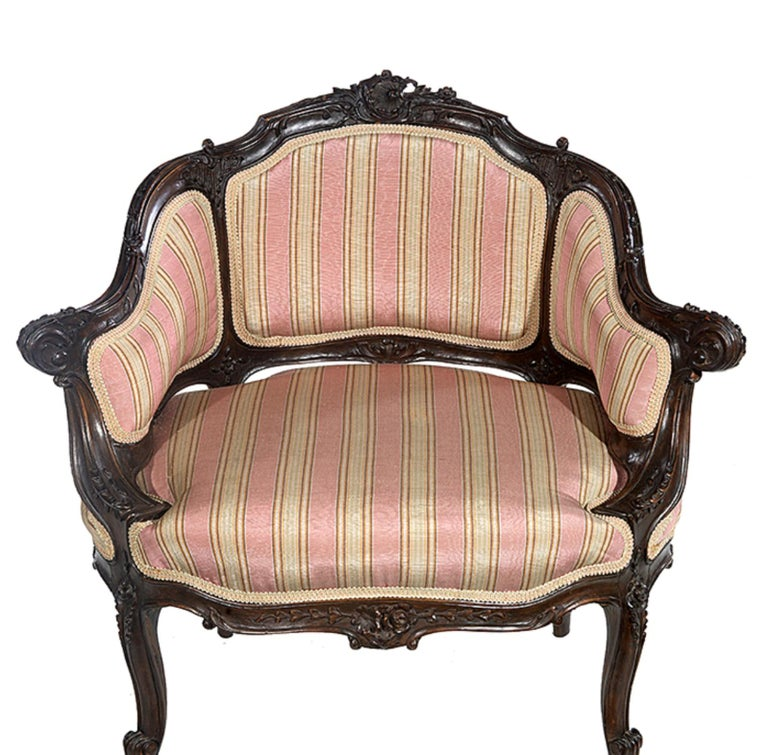Petite Carved Walnut Framed Armchair in the Louis XV Style For Sale 2