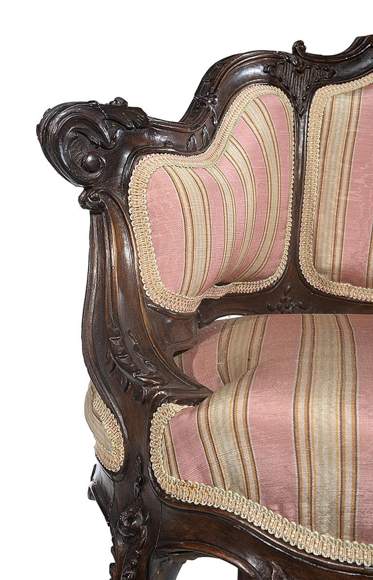Petite Carved Walnut Framed Armchair in the Louis XV Style For Sale 3
