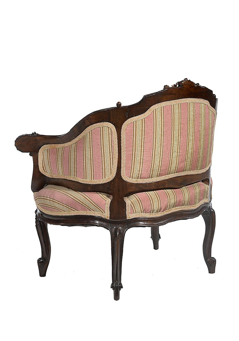 Petite Carved Walnut Framed Armchair in the Louis XV Style For Sale 4