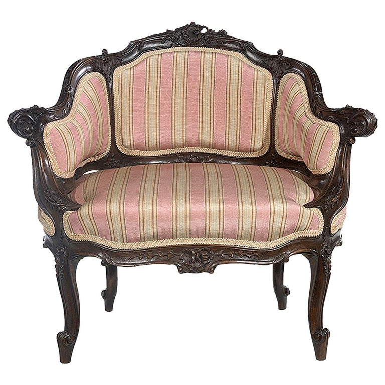 Petite Carved Walnut Framed Armchair in the Louis XV Style For Sale