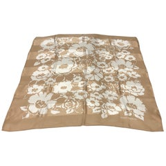 A Pierre Balmain White and Brown Floral Silk Foulard