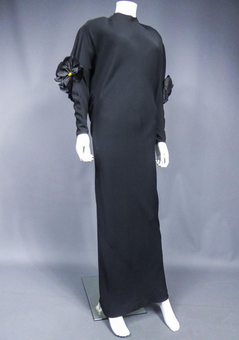 A Pierre Cardin Black Couture Jersey Evening Dress Circa 1976/1978 For Sale 6