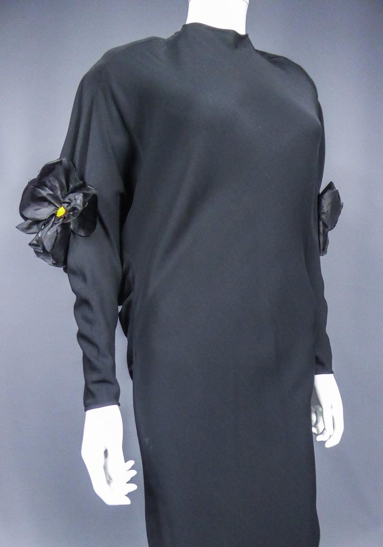 A Pierre Cardin Black Couture Jersey Evening Dress Circa 1976/1978 For Sale 7