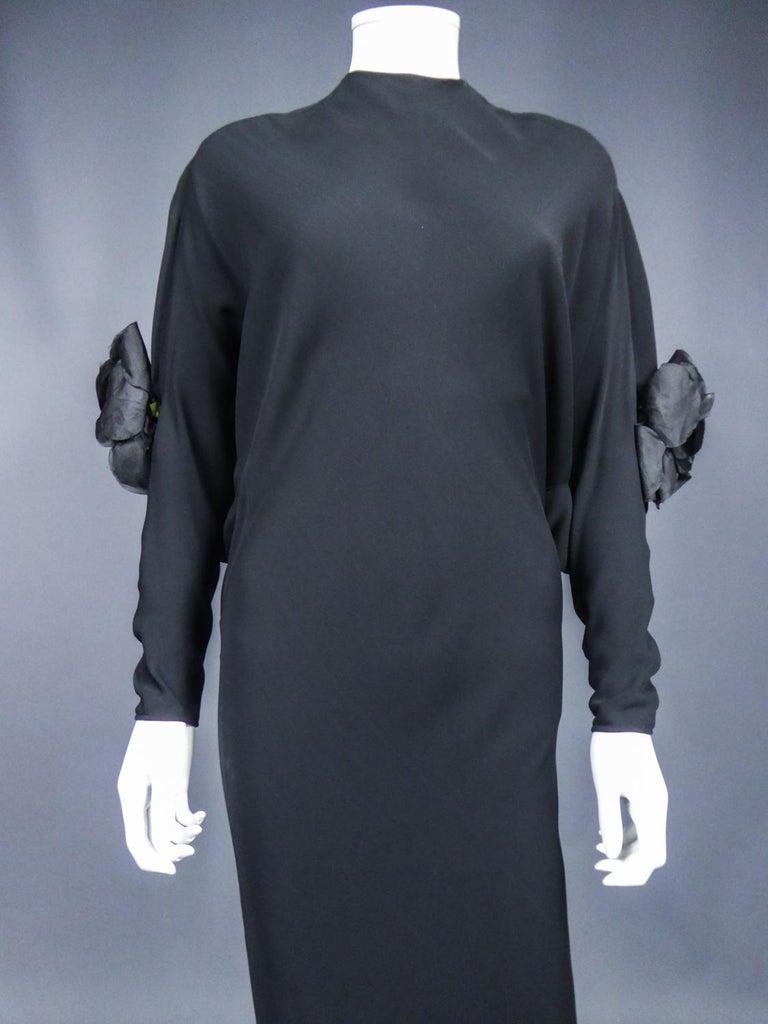 Women's A Pierre Cardin Black Couture Jersey Evening Dress Circa 1976/1978 For Sale