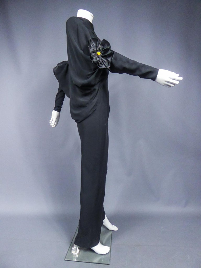 A Pierre Cardin Black Couture Jersey Evening Dress Circa 1976/1978 For Sale 2
