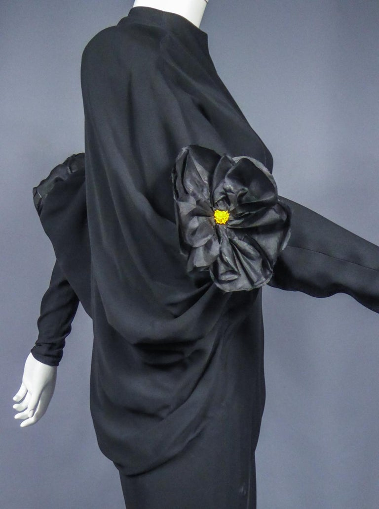 A Pierre Cardin Black Couture Jersey Evening Dress Circa 1976/1978 For Sale 3