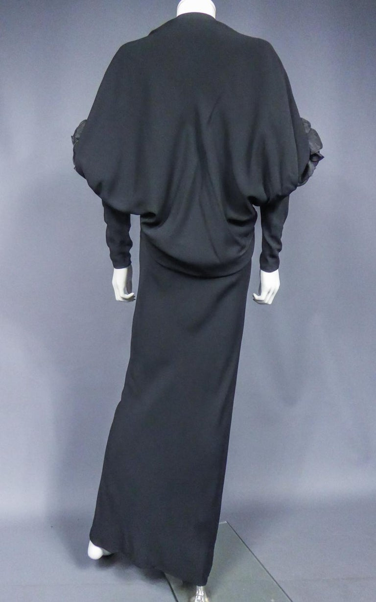A Pierre Cardin Black Couture Jersey Evening Dress Circa 1976/1978 For Sale 4