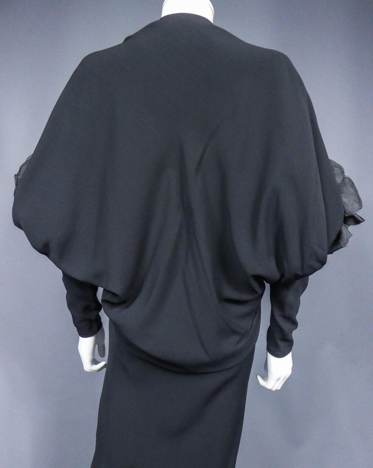 A Pierre Cardin Black Couture Jersey Evening Dress Circa 1976/1978 For Sale 5