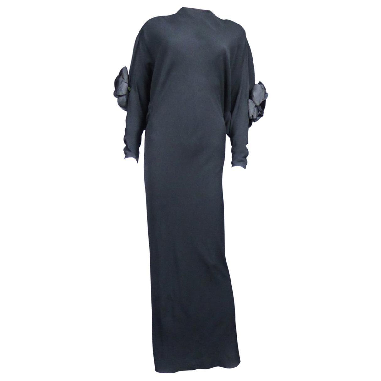 A Pierre Cardin Black Couture Jersey Evening Dress Circa 1976/1978