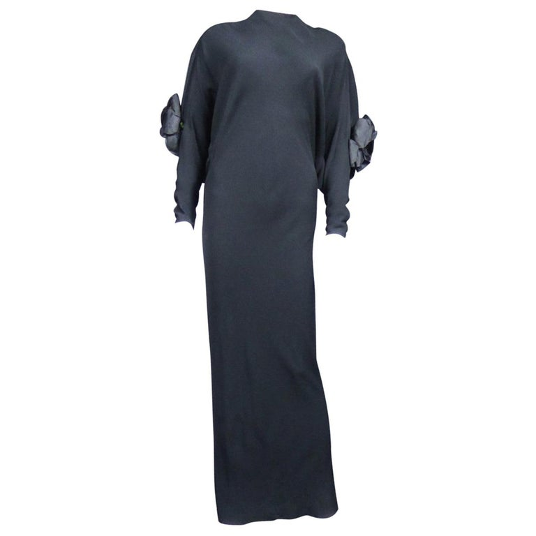 A Pierre Cardin Black Couture Jersey Evening Dress Circa 1976/1978 For Sale