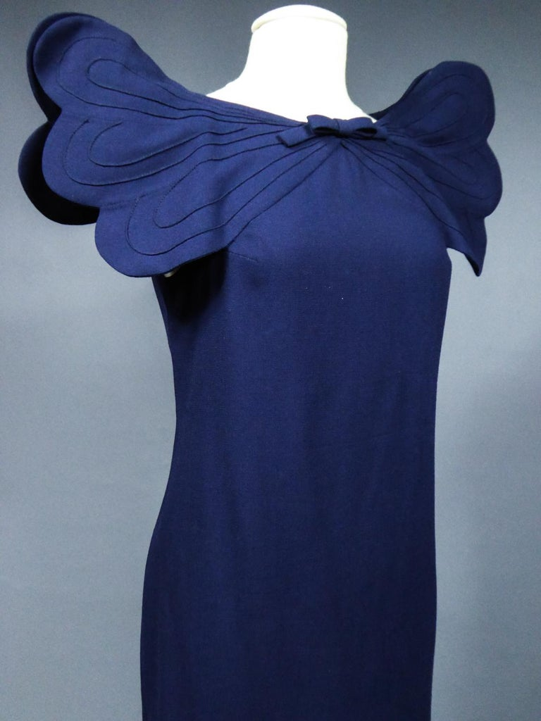 A Pierre Cardin Haute Couture Mini-dress in Navy-blueJersey and Butterfly Busti For Sale 5