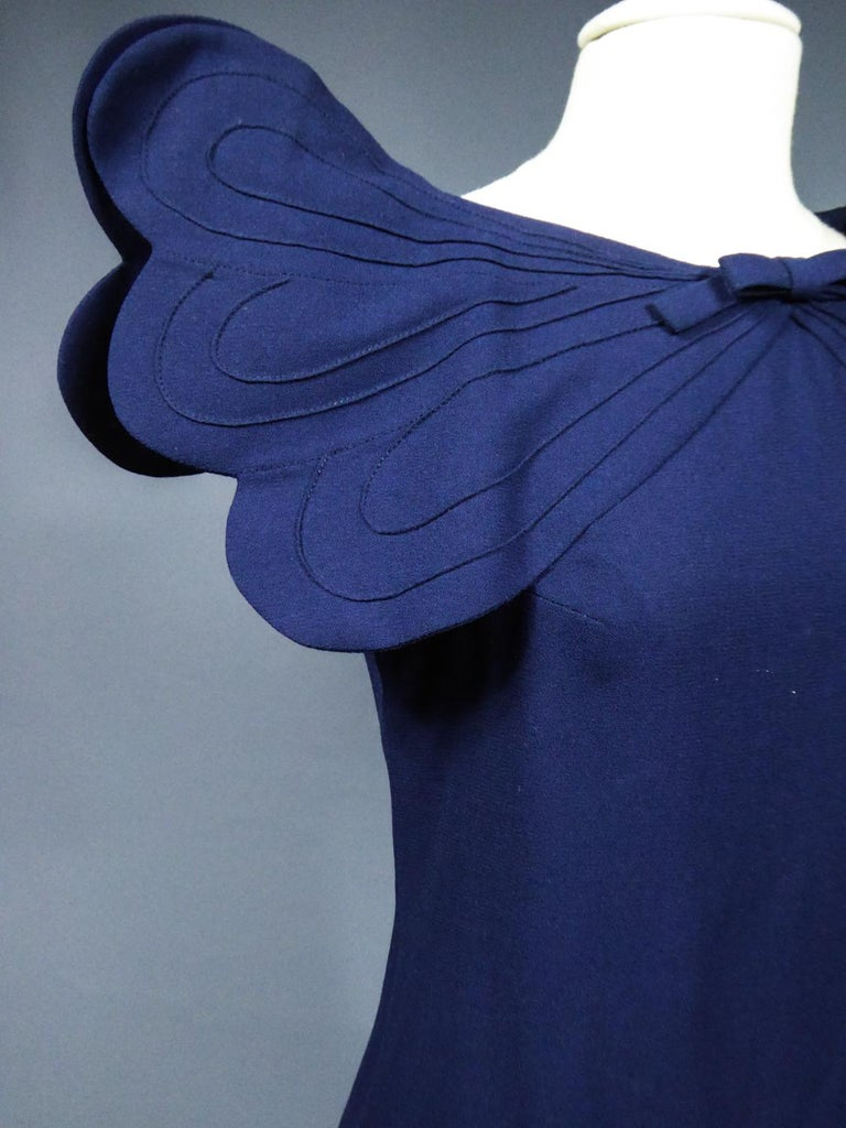 A Pierre Cardin Haute Couture Mini-dress in Navy-blueJersey and Butterfly Busti For Sale 7
