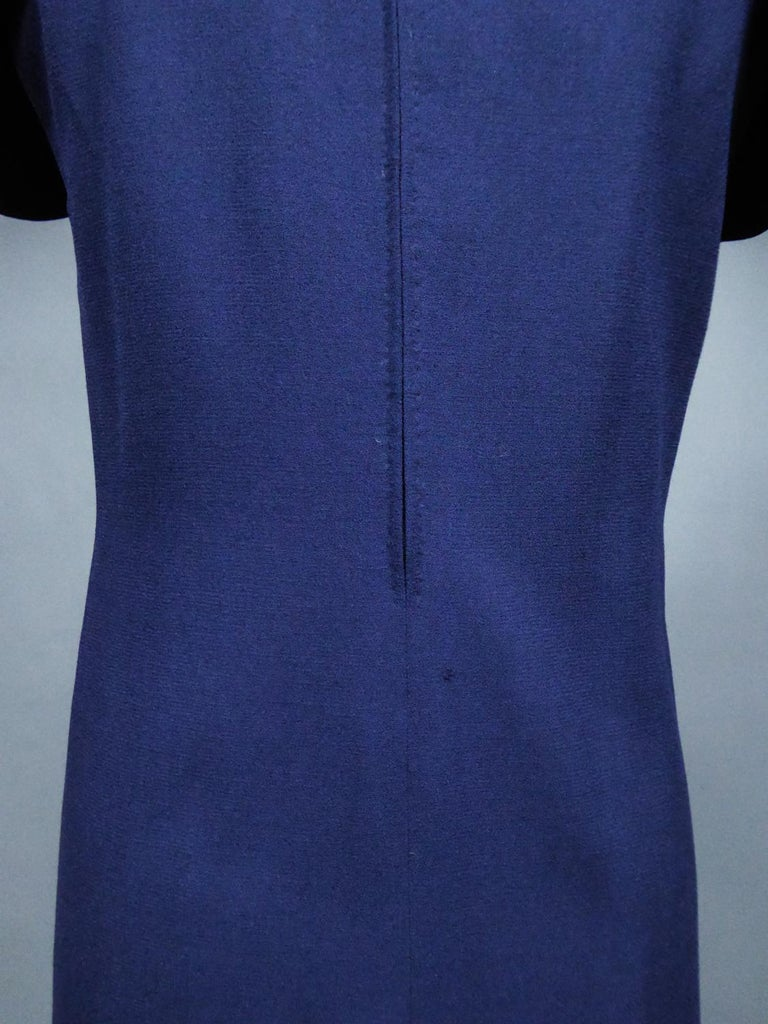 A Pierre Cardin Haute Couture Mini-dress in Navy-blueJersey and Butterfly Busti For Sale 8