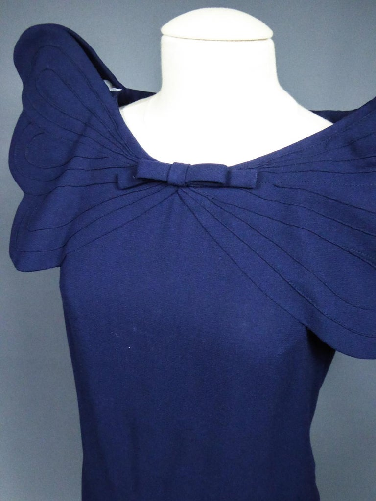 A Pierre Cardin Haute Couture Mini-dress in Navy-blueJersey and Butterfly Busti For Sale 9