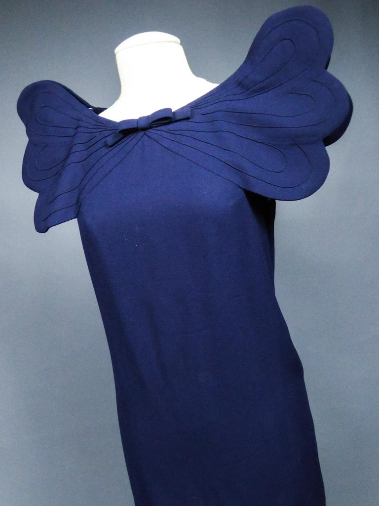 A Pierre Cardin Haute Couture Mini-dress in Navy-blueJersey and Butterfly Busti For Sale 10