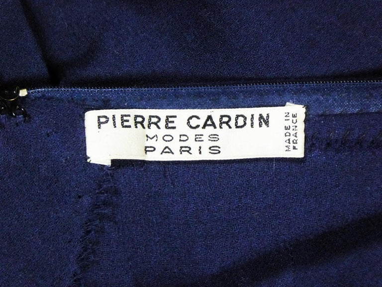 Purple A Pierre Cardin Haute Couture Mini-dress in Navy-blueJersey and Butterfly Busti For Sale