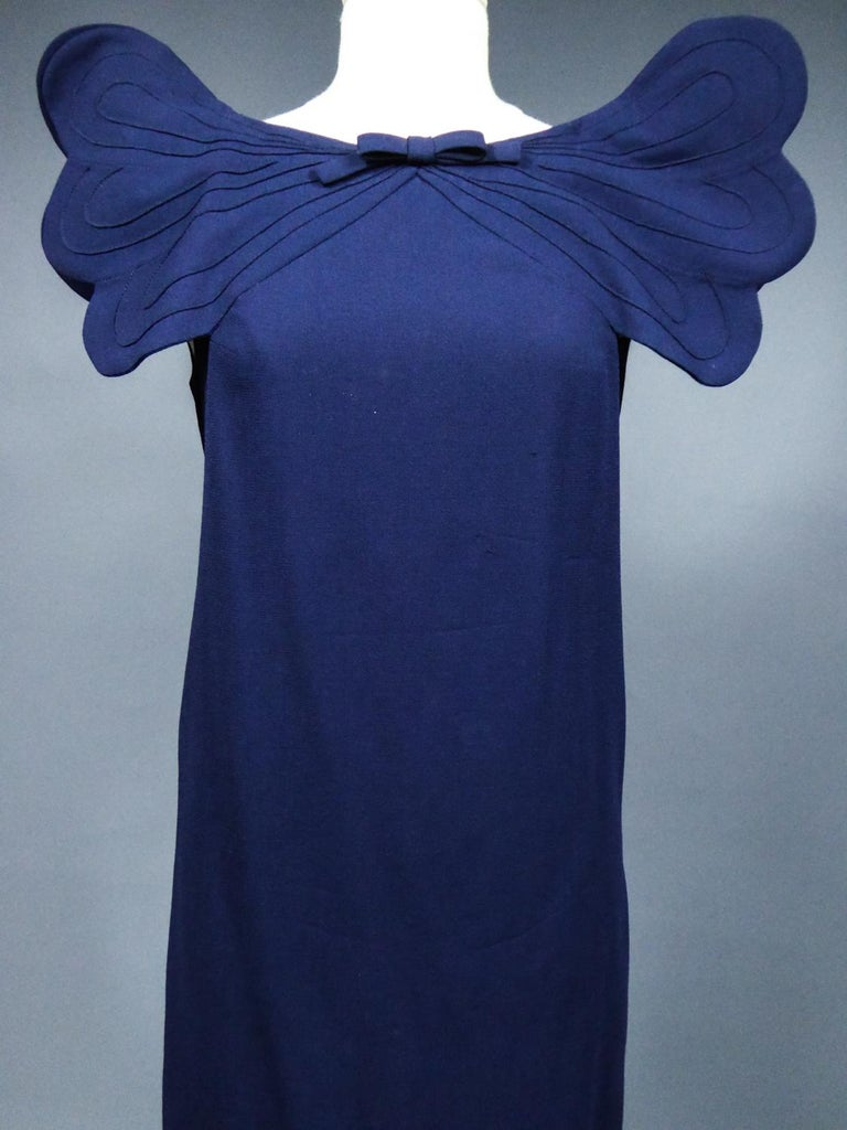 A Pierre Cardin Haute Couture Mini-dress in Navy-blueJersey and Butterfly Busti In Excellent Condition For Sale In Toulon, FR