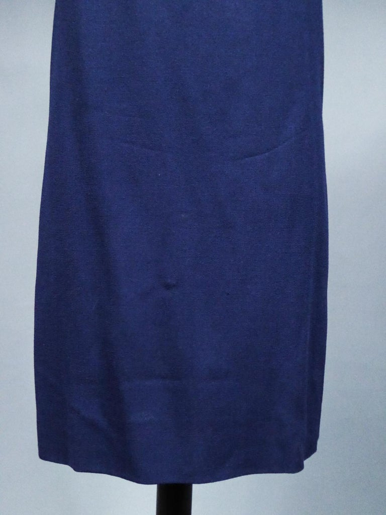 A Pierre Cardin Haute Couture Mini-dress in Navy-blueJersey and Butterfly Busti For Sale 1