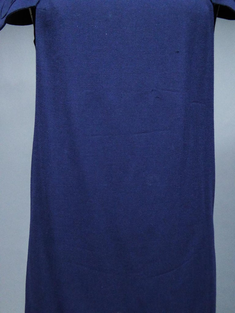 A Pierre Cardin Haute Couture Mini-dress in Navy-blueJersey and Butterfly Busti For Sale 2
