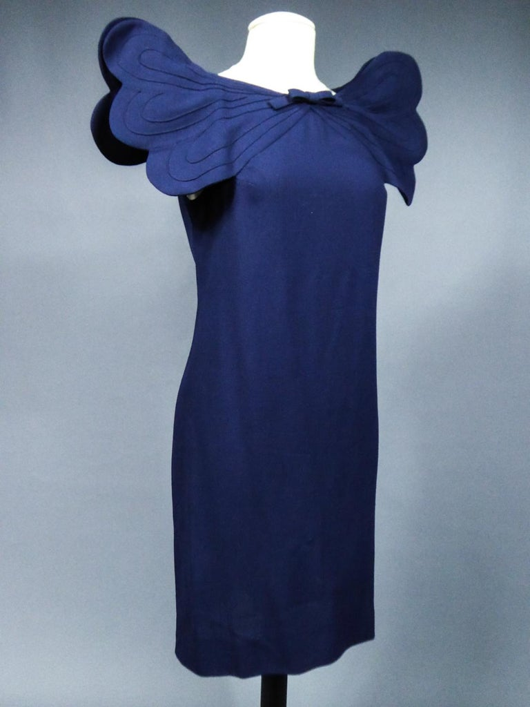 A Pierre Cardin Haute Couture Mini-dress in Navy-blueJersey and Butterfly Busti For Sale 4