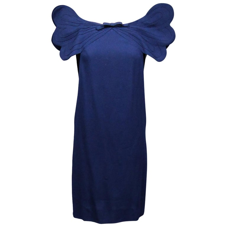 A Pierre Cardin Haute Couture Mini-dress in Navy-blueJersey and Butterfly Busti For Sale