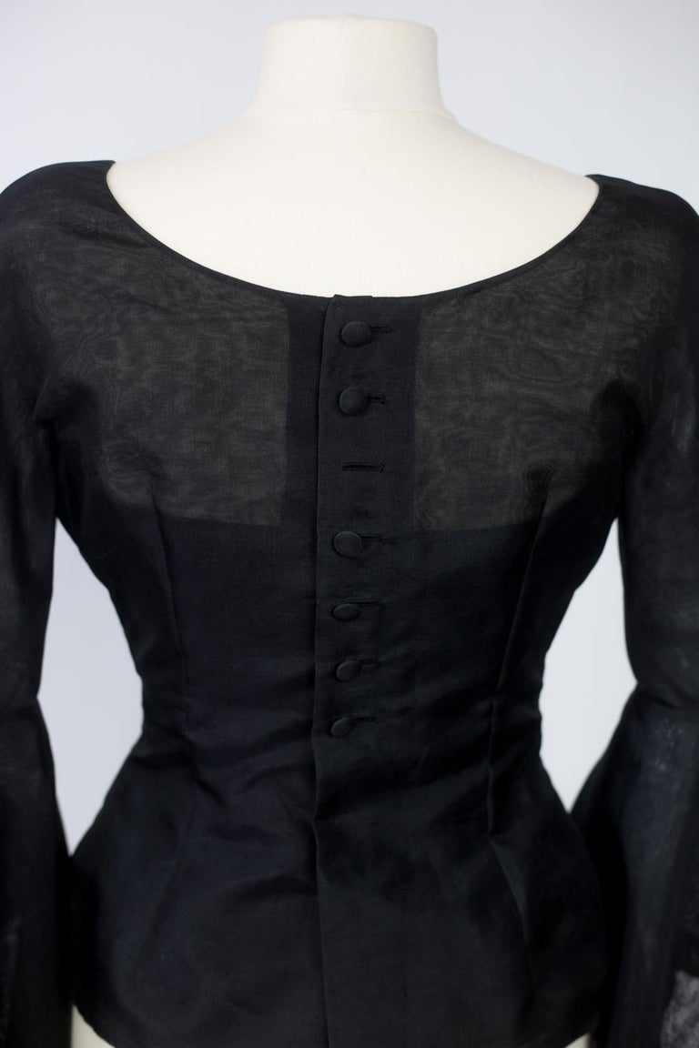 A Pierre Cardin Organza Blouse With Dramatic Batwing Sleeves Circa 1970/1980 For Sale 5