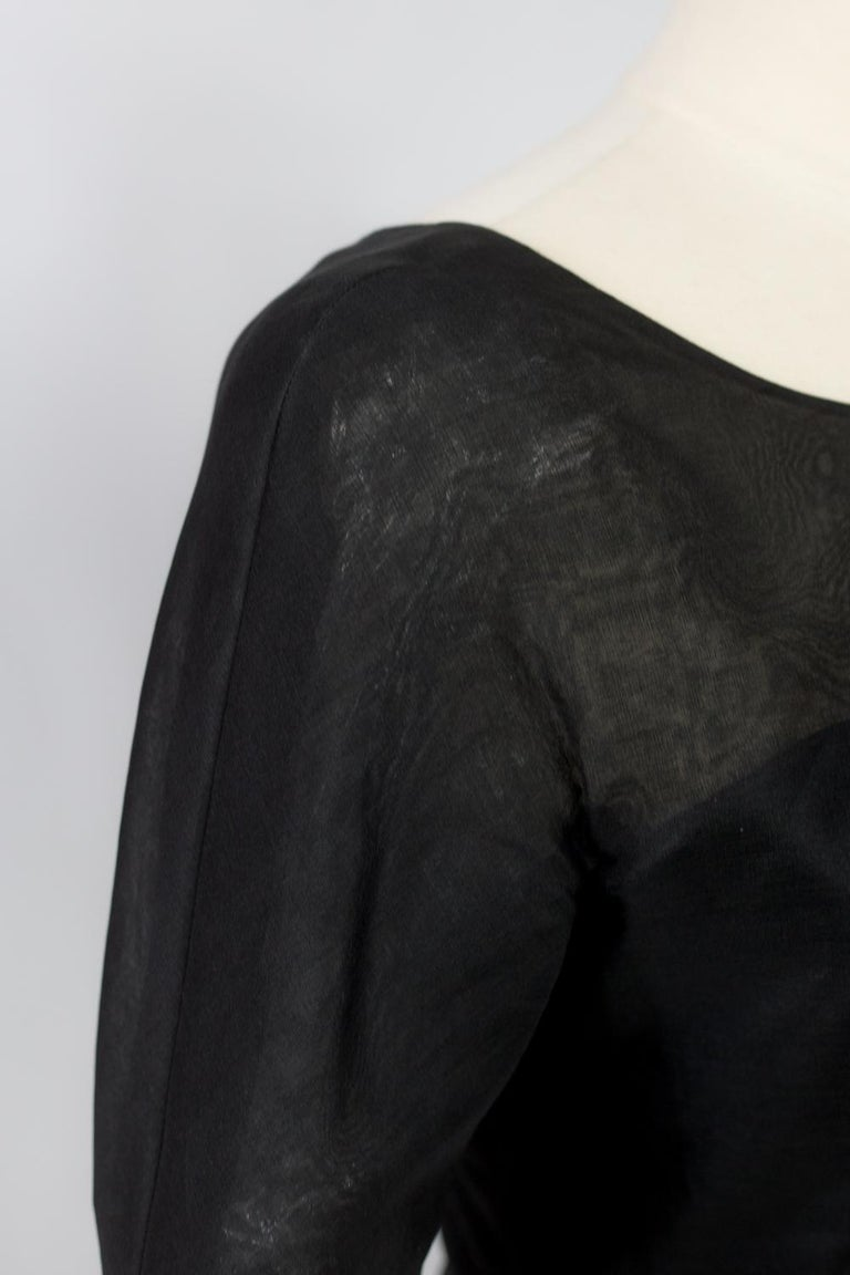 A Pierre Cardin Organza Blouse With Dramatic Batwing Sleeves Circa 1970/1980 For Sale 8