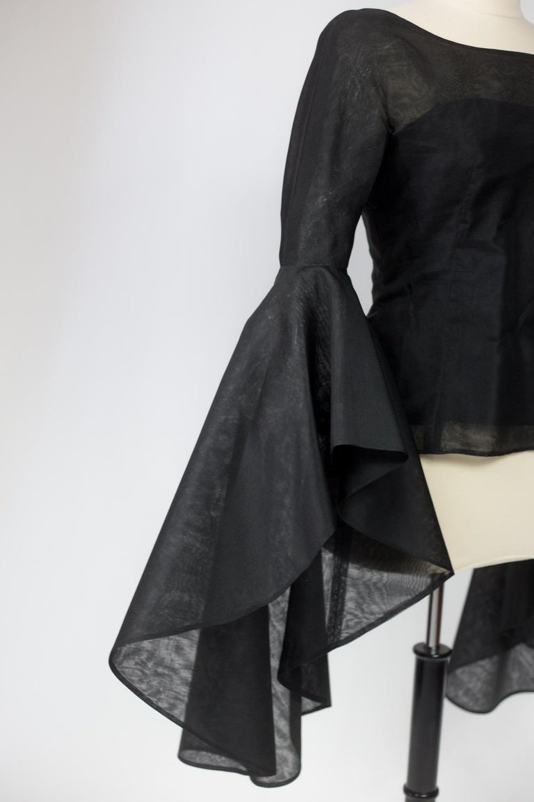 A Pierre Cardin Organza Blouse With Dramatic Batwing Sleeves Circa 1970/1980 For Sale 9