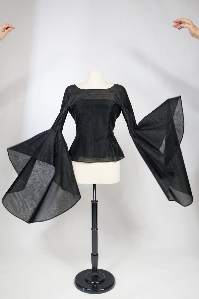 A Pierre Cardin Organza Blouse With Dramatic Batwing Sleeves Circa 1970/1980 For Sale 10