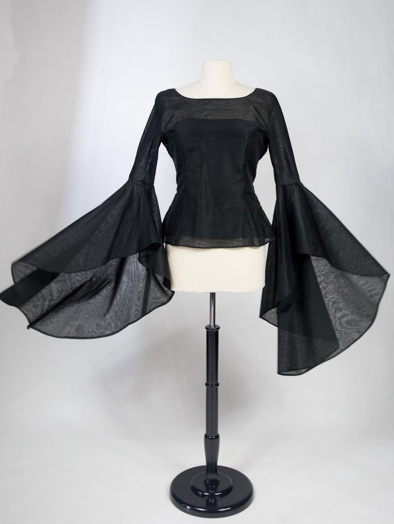 A Pierre Cardin Organza Blouse With Dramatic Batwing Sleeves Circa 1970/1980 For Sale 12