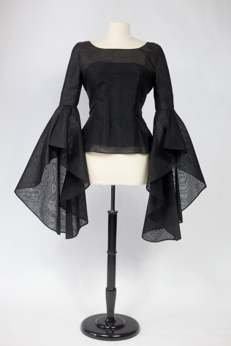 Women's A Pierre Cardin Organza Blouse With Dramatic Batwing Sleeves Circa 1970/1980 For Sale