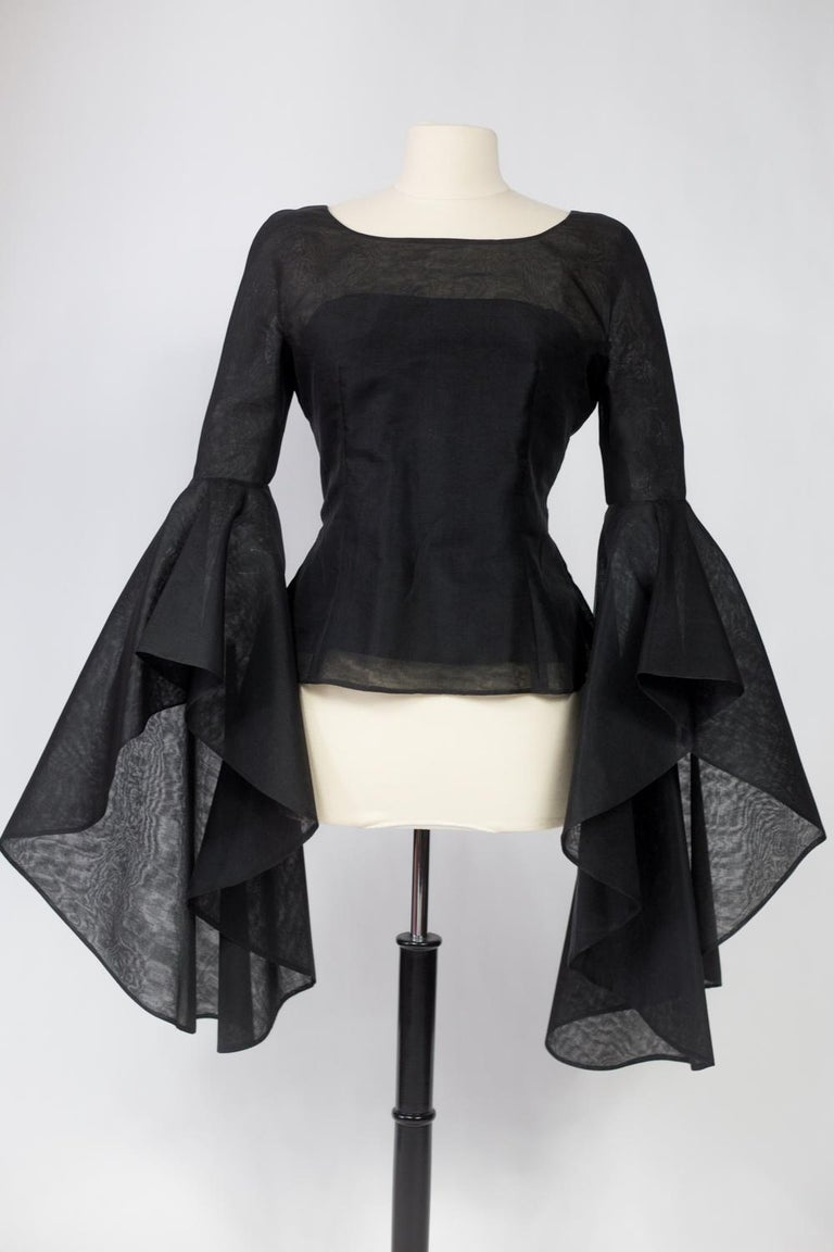A Pierre Cardin Organza Blouse With Dramatic Batwing Sleeves Circa 1970/1980 For Sale 1