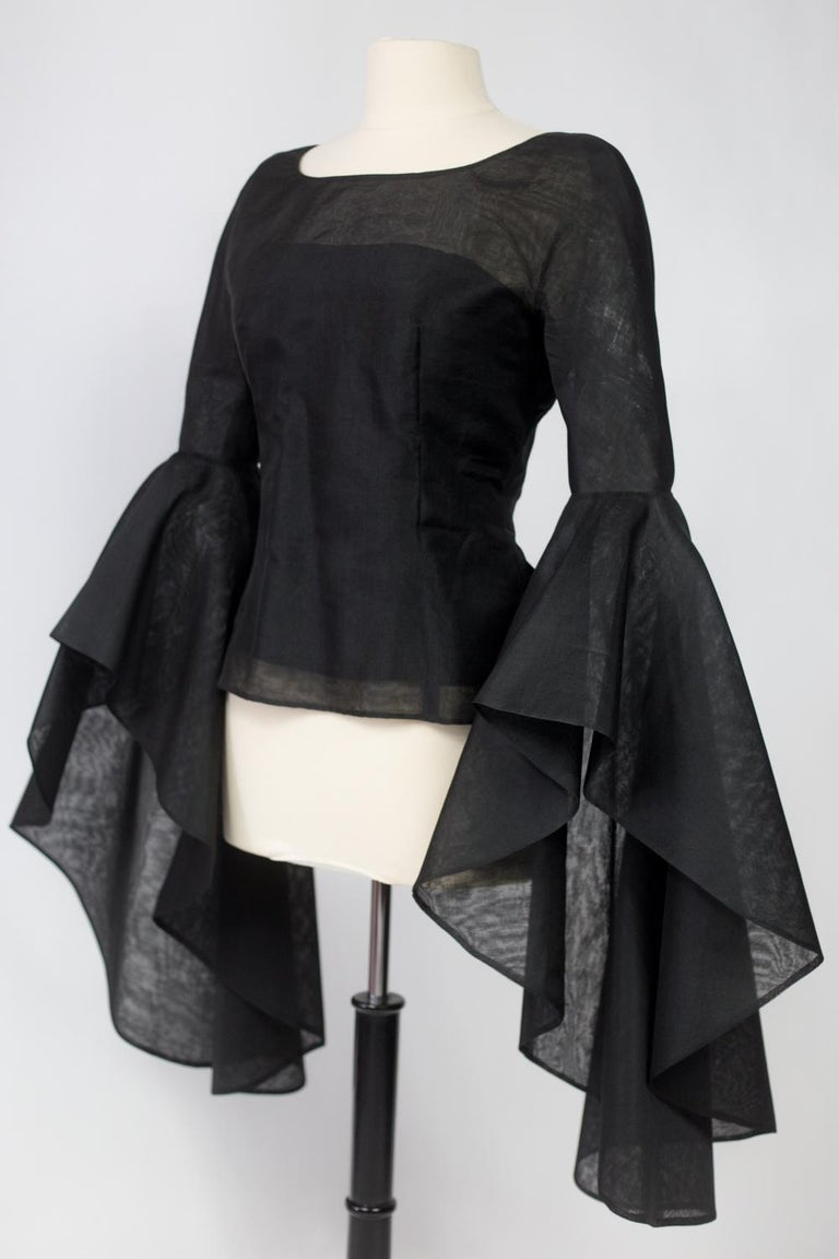 A Pierre Cardin Organza Blouse With Dramatic Batwing Sleeves Circa 1970/1980 For Sale 2