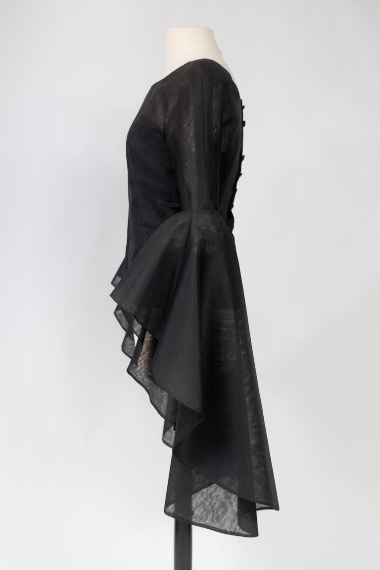A Pierre Cardin Organza Blouse With Dramatic Batwing Sleeves Circa 1970/1980 For Sale 3