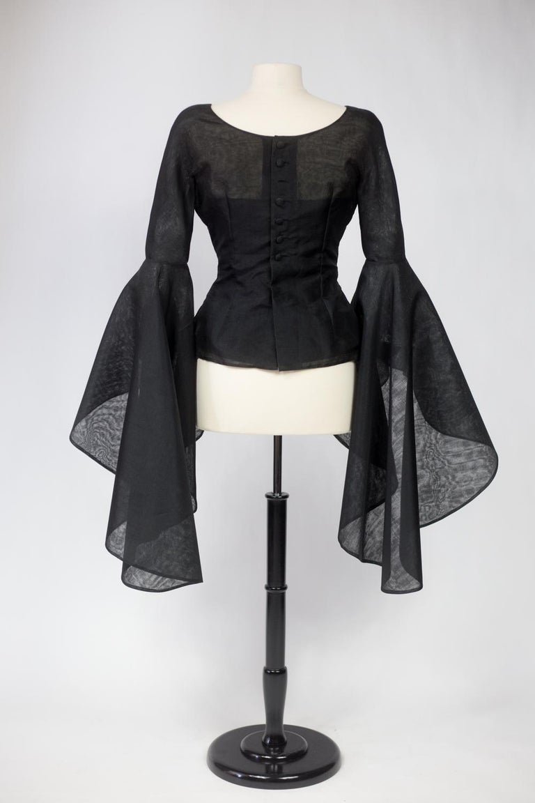A Pierre Cardin Organza Blouse With Dramatic Batwing Sleeves Circa 1970/1980 For Sale 4