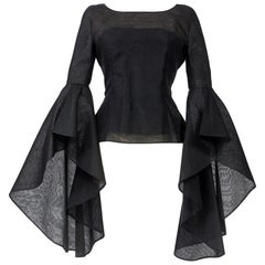 A Pierre Cardin Organza Blouse With Dramatic Batwing Sleeves Circa 1970/1980