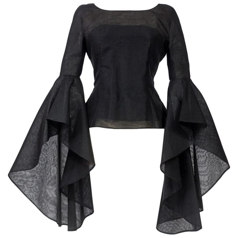 A Pierre Cardin Organza Blouse With Dramatic Batwing Sleeves Circa 1970/1980 For Sale